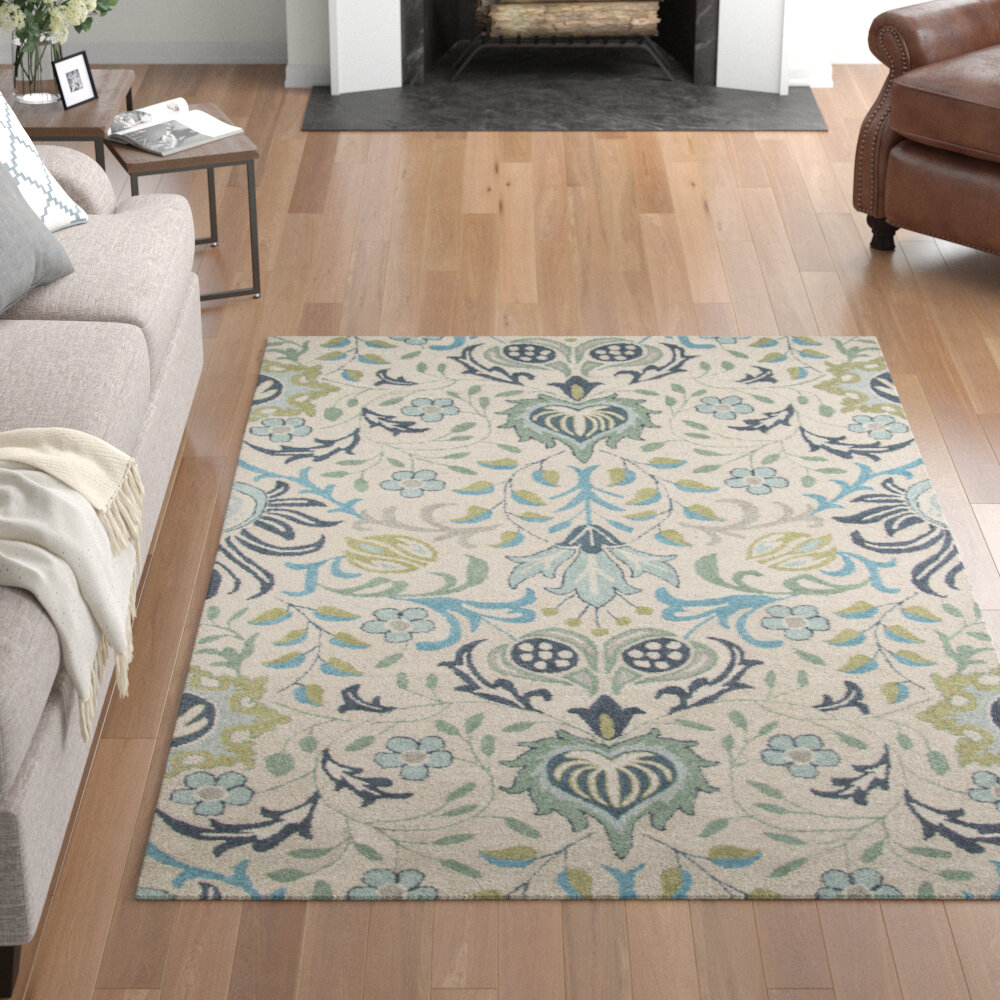 Bungalow Rose Tulsa Floral Handmade Tufted Wool Blue Area Rug Reviews Wayfair