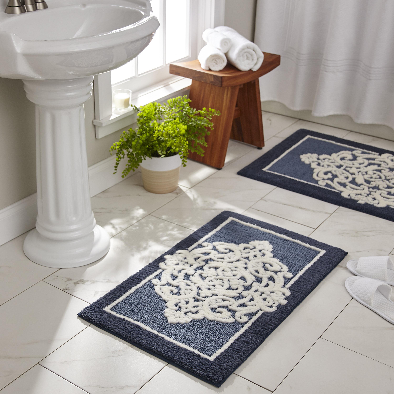 Polyester Non Slip Fl Bath Rug