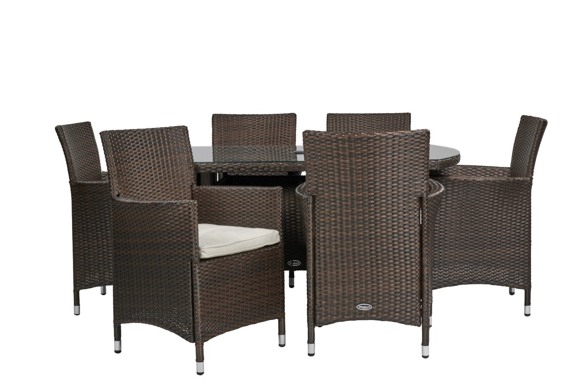 Royal Craft Cannes 6 Seater Dining Set with Cushions & Reviews ...