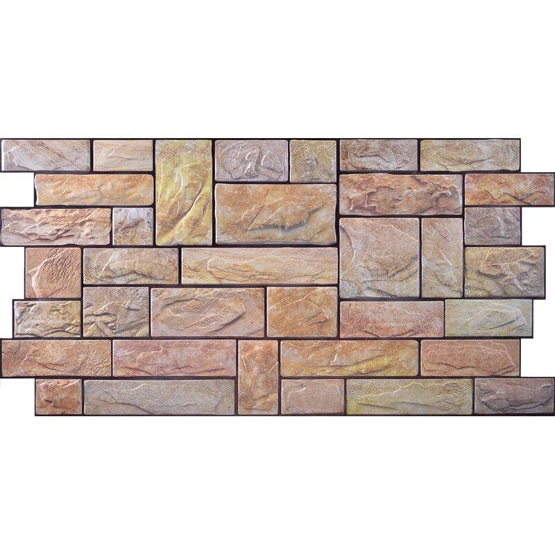 Retroart 3d Wall Panels 38 X 20 Tile In Stone Cut Yellow Wayfair