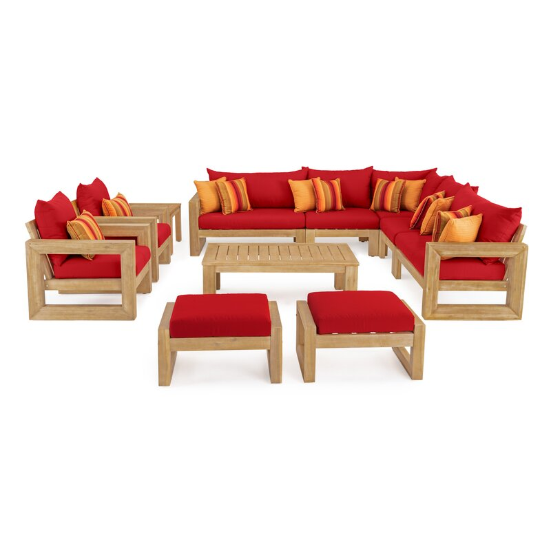 Rosecliff Heights  Mcclain 11 Piece Sunbrella Sectional Seating Group with Cushions Cushion Color: Sunset Red