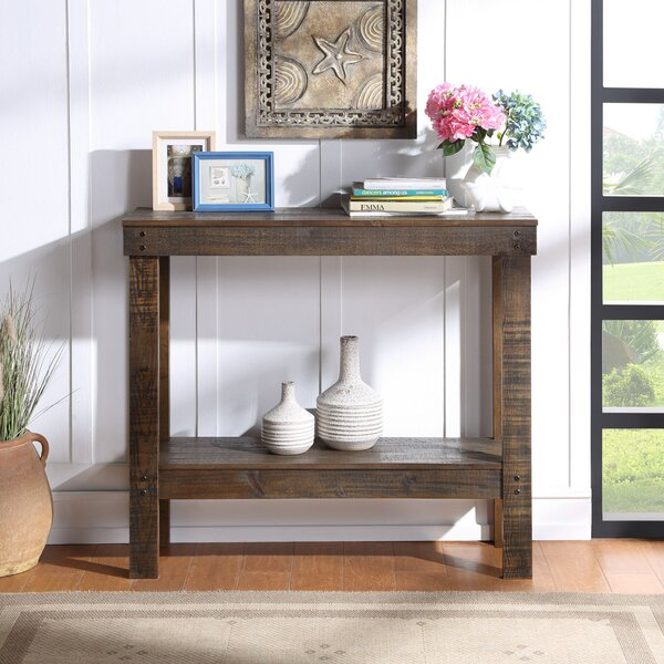 Foundry Select Rustic Farmhouse Console Table With Storage Fully Assembled Wood Rusticsqaure Entryway Table For Living Room Entryway Narrow Pub Bar Table For Home 39 Inches Dark Brown