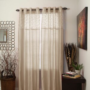Geometric Laser-Cut Geometric Sheer Grommet Single Curtain Panel