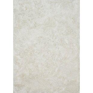 Coupon Elliana Shag Hand-Tufted White Area Rug ByHouse of Hampton