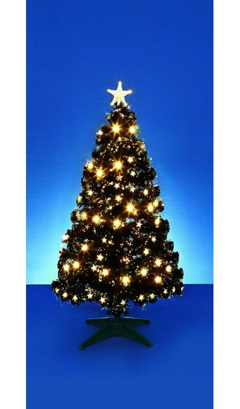 59033fd07beea The Seasonal Aisle Fibre Optic 4ft Black Pine Artificial Christmas Tree  with Warm White LEDs Lights with Stand