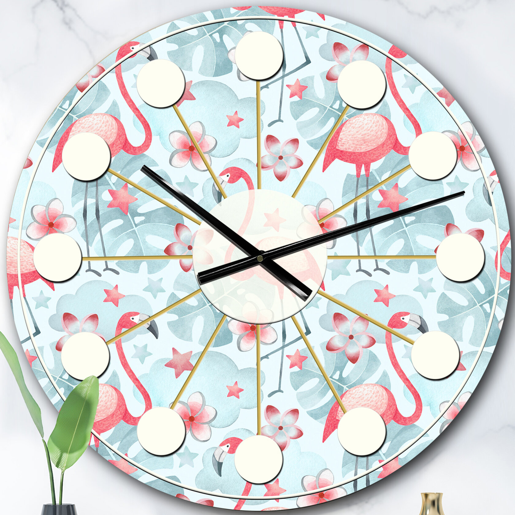 East Urban Home Oversized Tropical Botanicals Iii Mid Century Wall Clock Wayfair