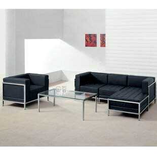 Pyron Leather Modular Sectional with Ottoman