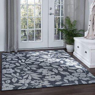 Quintin Contemporary Geometric Charcoal Indoor/Outdoor Area Rug