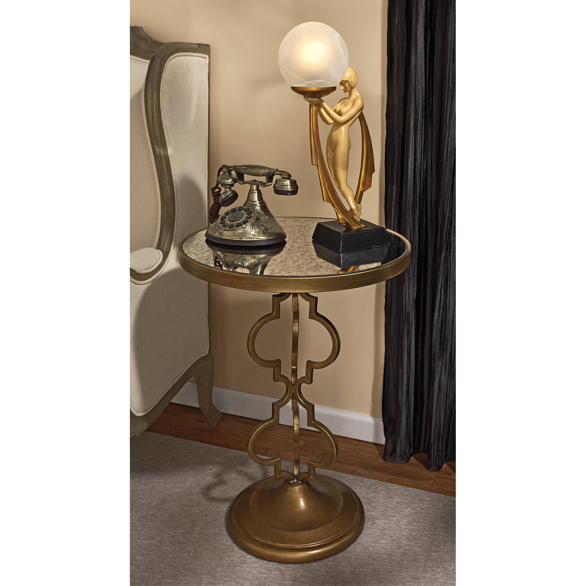 Design Toscano Film Noir Art Deco Mirrored End Table U0026 Reviews | Wayfair