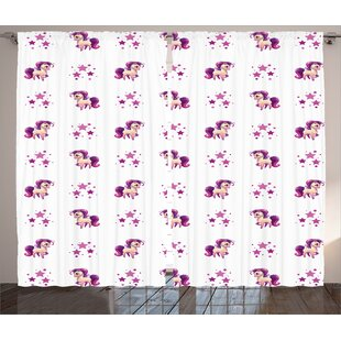 Ernesto Girly Decor Graphic Print & Text Semi-Sheer Rod Pocket Curtain Panels (Set of 2) by Zoomie Kids