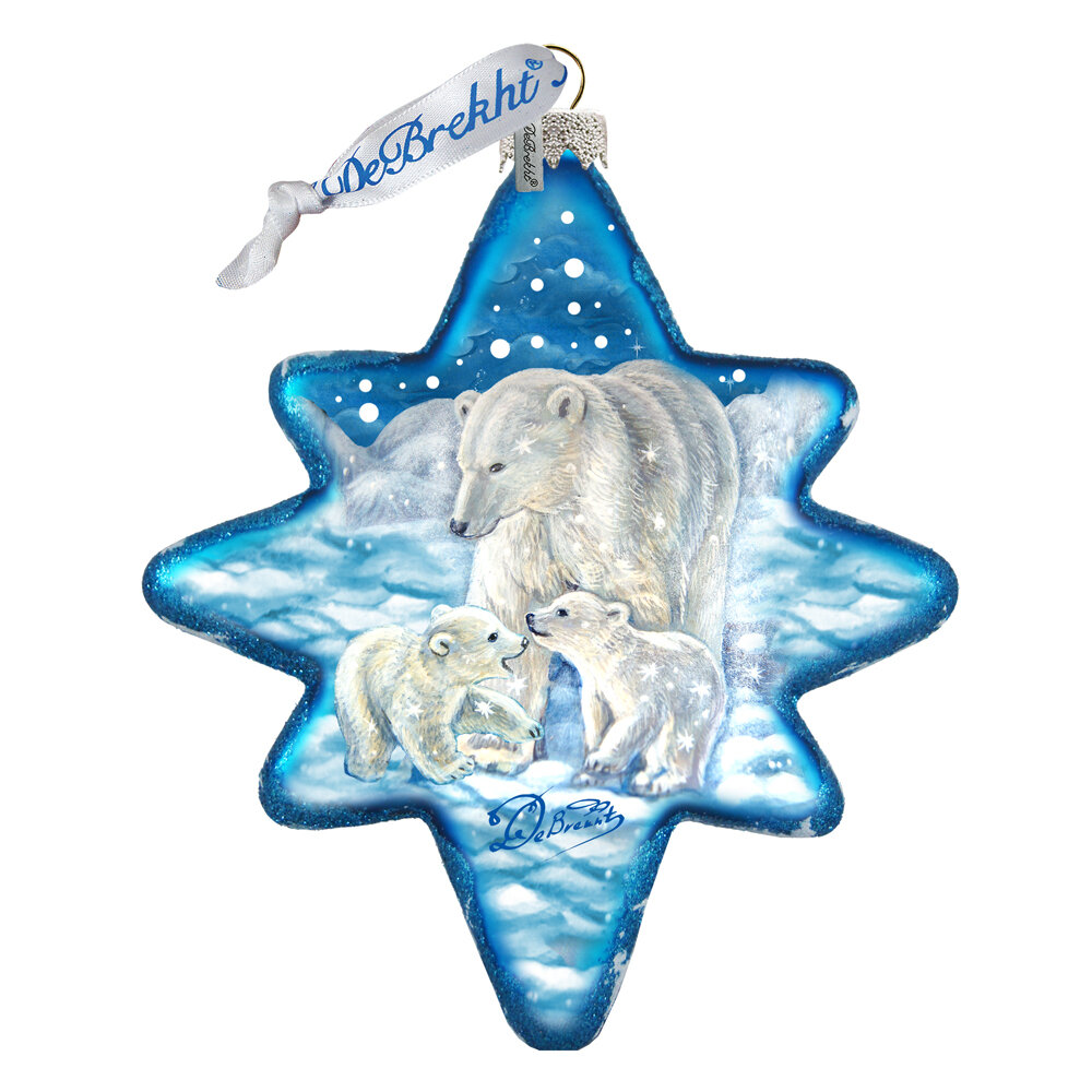 The Holiday Aisle Christmas Polar Bears North Star Shaped Ornament ...