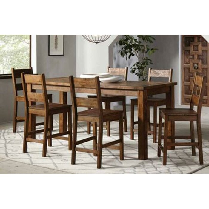 Aster 7 Piece Counter Height Solid Wood Dining Set