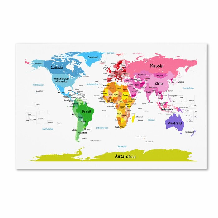 Trademark art world map for kids ii by michael tompsett graphic world map for kids ii by michael tompsett graphic art on wrapped canvas publicscrutiny Image collections