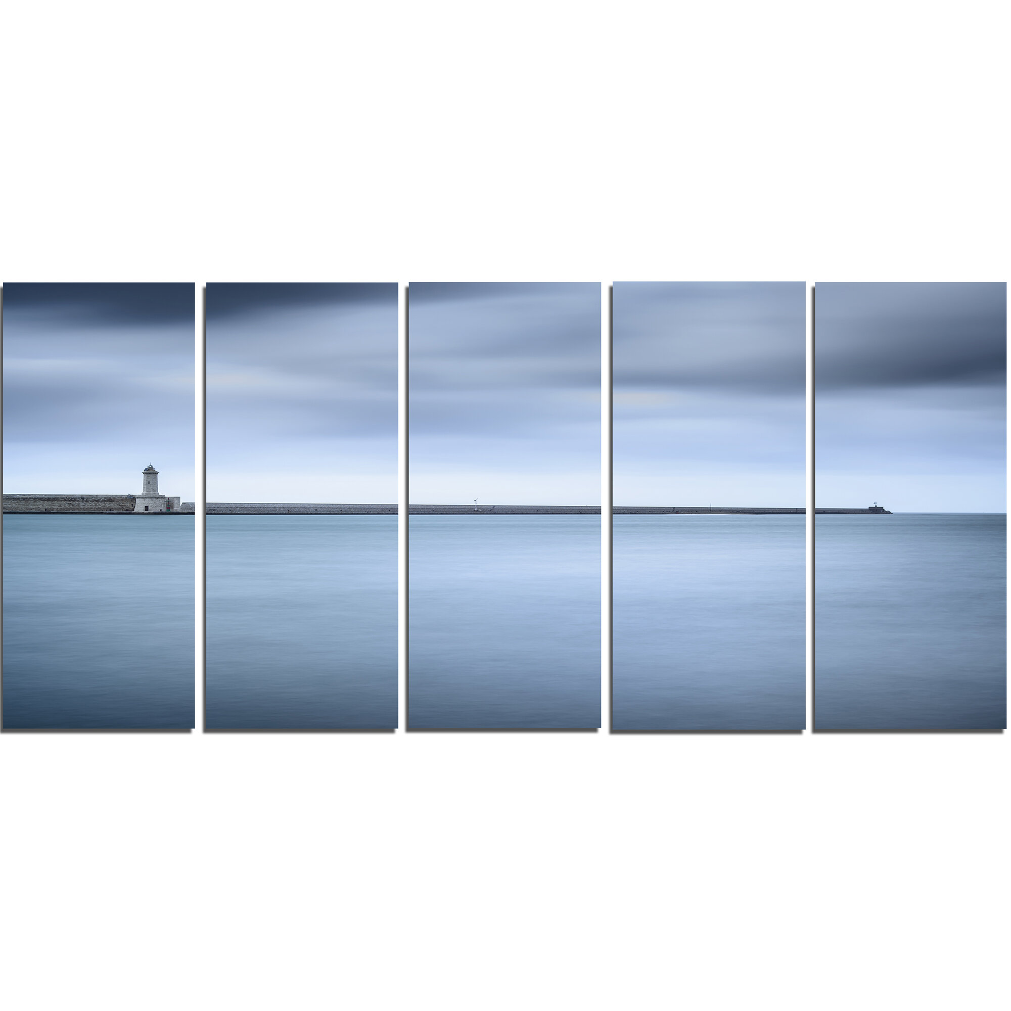 Designart Breakwater And Soft Water Under Clouds 5 Piece Wall Art On Wrapped Canvas Set Wayfair
