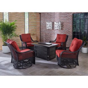 Luisa 5-Piece Outdoor Patio Conversation Fire Pit Coffee Table Set with Autumn Berry Swivel Gliders and Liquid Propane Fire Pit by Longshore Tides