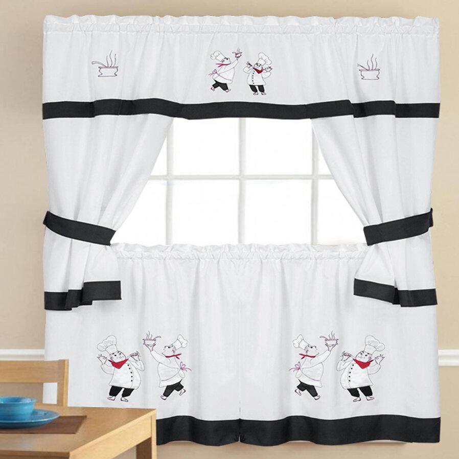 3pcs kitchen curtain set valance tier home kitchen window decor elegant durable curtains pelmets