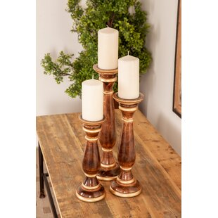 Traditional Baluster 3 Piece Wood Candlestick Set