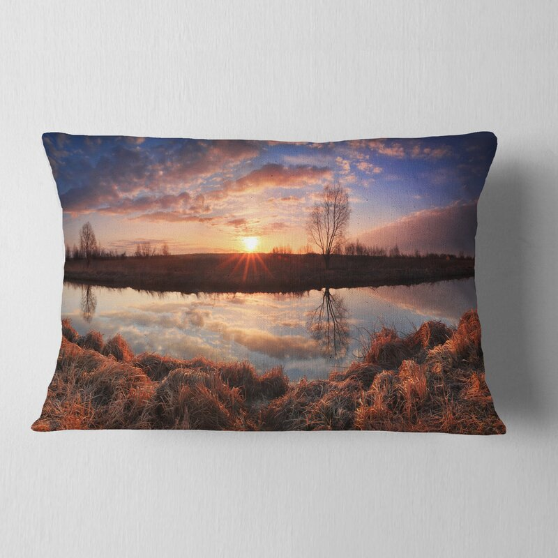 East Urban Home Designart Sunrise Above Spring River Landscape Photo Throw Pillow Wayfair