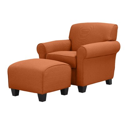 Aine Armchair and Ottoman Upholstery Color: Orange Linen by Andover Mills