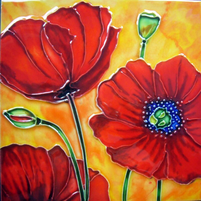 3 Red Poppies with burnt Orange Tile Wall Decor