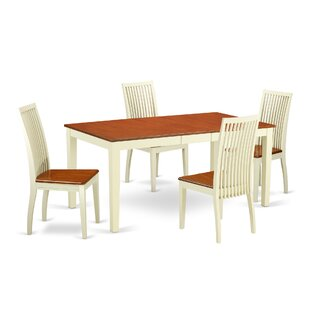 Pillar 5 Piece Solid Wood Dining Set August Grove