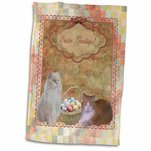82e19252908 Milone Kitty Cats with Easter Basket of Eggs on Musical Sheet  BackgroundHand Towel