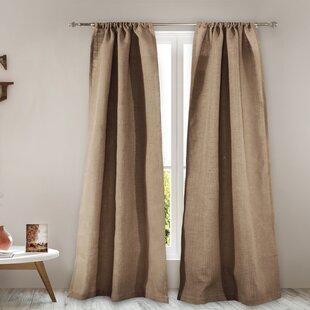 Elmira Burlap 4 Piece Solid Semi Sheer Rod Pocket Curtain Panels