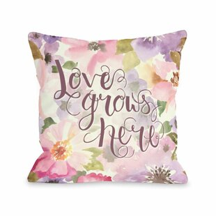 Love Grows Here Lavender Throw Pillow