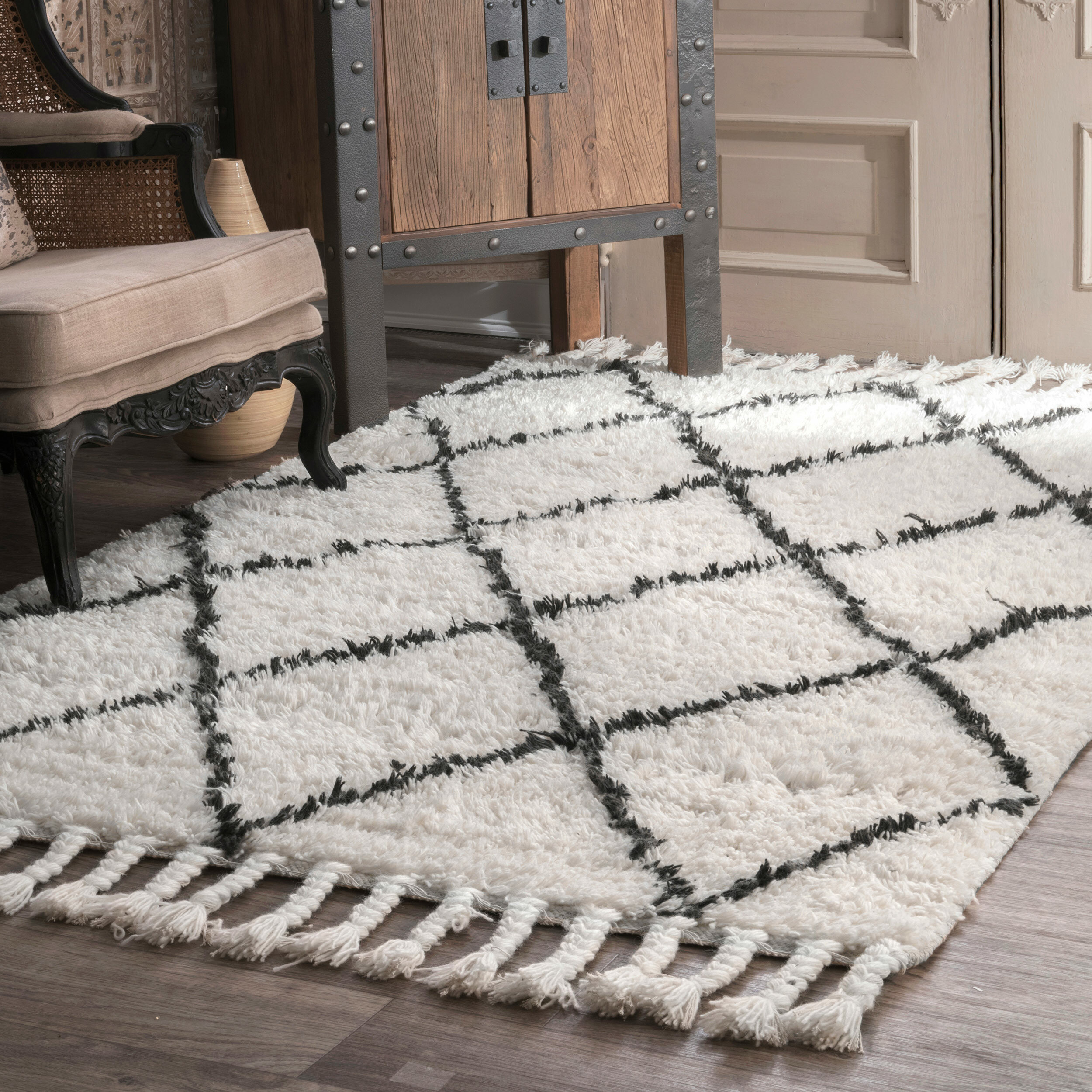Hand Knotted Wool Off White Dark Grey