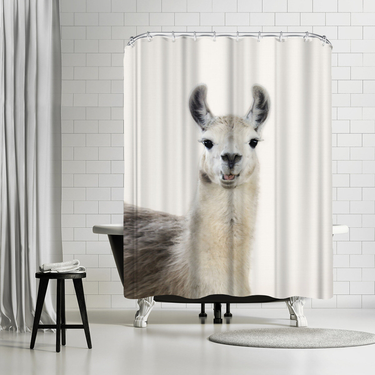 East Urban Home Sisi And Seb Funny Llama Single Shower Curtain Wayfair
