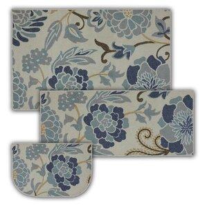 Lovely Thorson 3 Piece Power Flower Printed Kitchen Mat Set