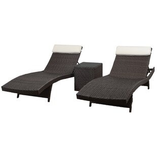 Grote Patio 3 Piece Single Chaise Lounge Set