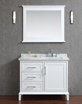 "Bathroom Vanity With Mirror latitude run sunderland 42"" single bathroom vanity set with mirror"