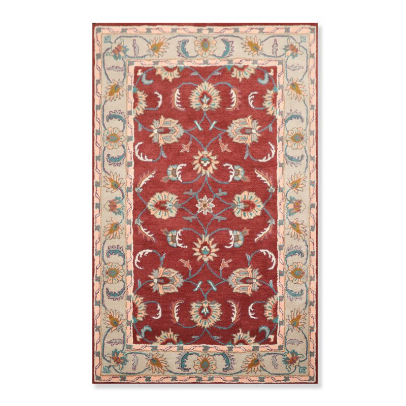 Alcott Hill Schrock Persian Oriental Hand Tufted Wool Plum Beige Area Rug Wayfair