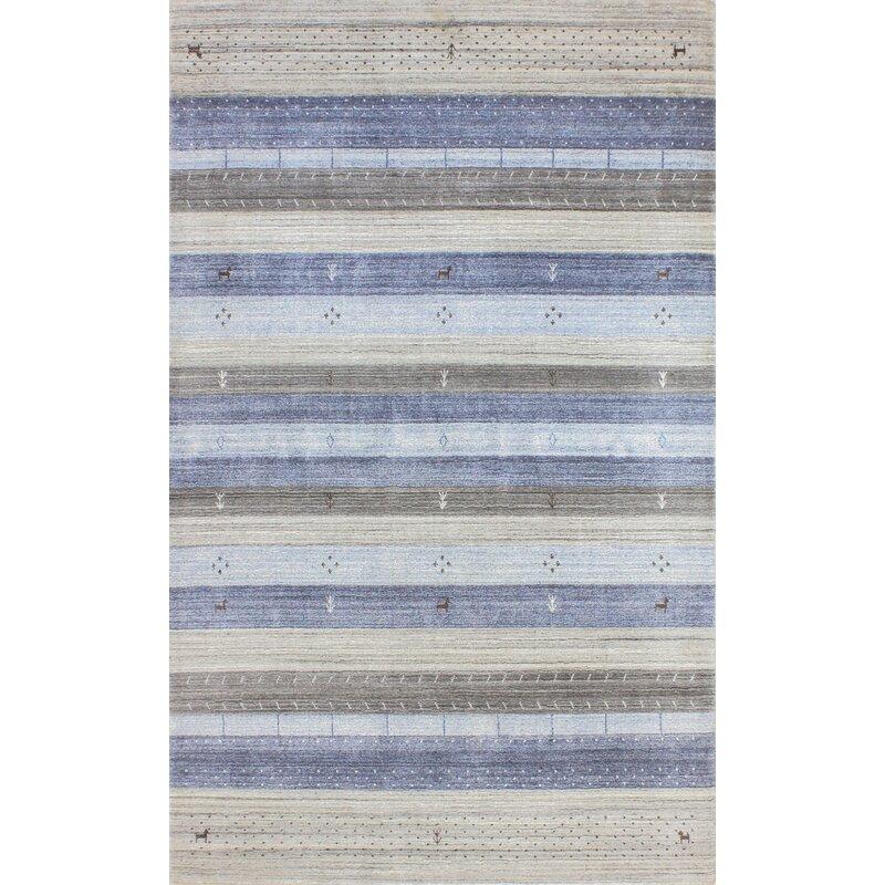 Bashian Rugs Indo Loribaft Striped Hand Knotted Blue Ivory Gray Area Rug Perigold