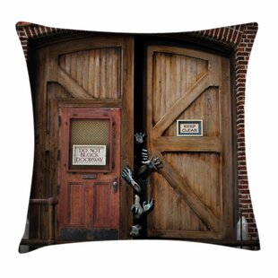 Zombie Decor Monster Wood Door Square Pillow Cover by East Urban Home