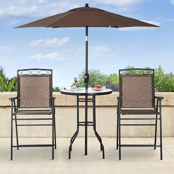 Freeport Park Knute 4 Piece Bistro Set with Umbrella & Reviews