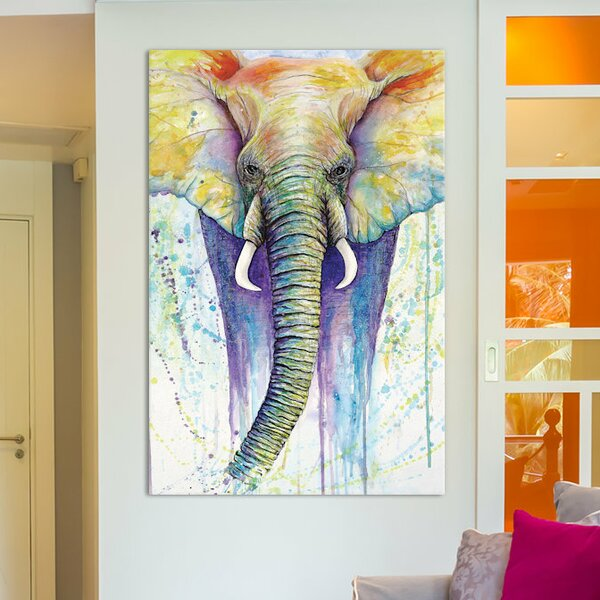 'Elephant Colors' by Michelle Faber Painting on Wrapped Canvas
