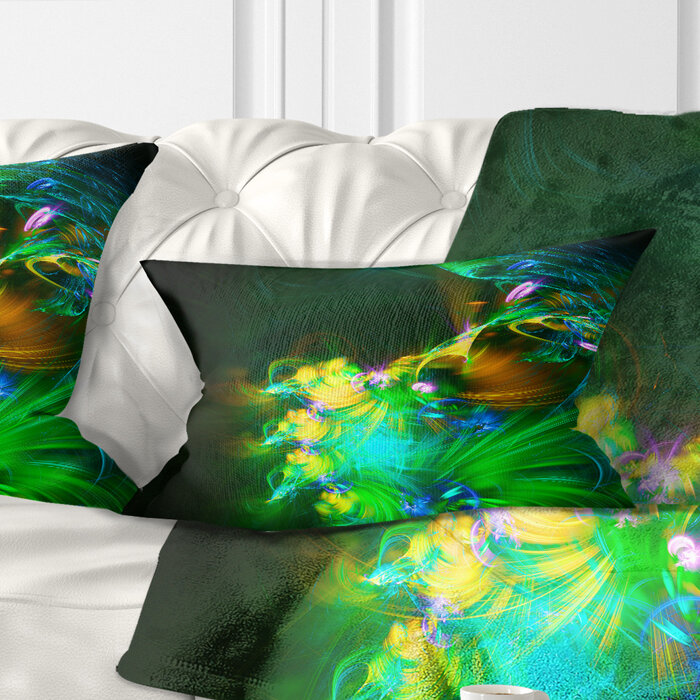 East Urban Home Floral Fractal Flower In Dark Lumbar Pillow Wayfair
