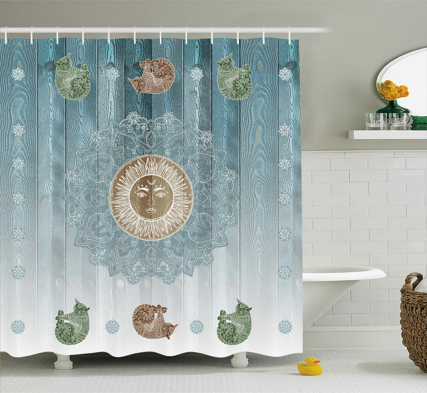 Bloomsbury Market Beecroft Totem Zen Boho Sun Cats Shower Curtain ...