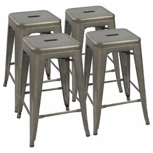 Marvelous Lehman Stackable 24 Bar Stool Set Of 4 Bralicious Painted Fabric Chair Ideas Braliciousco