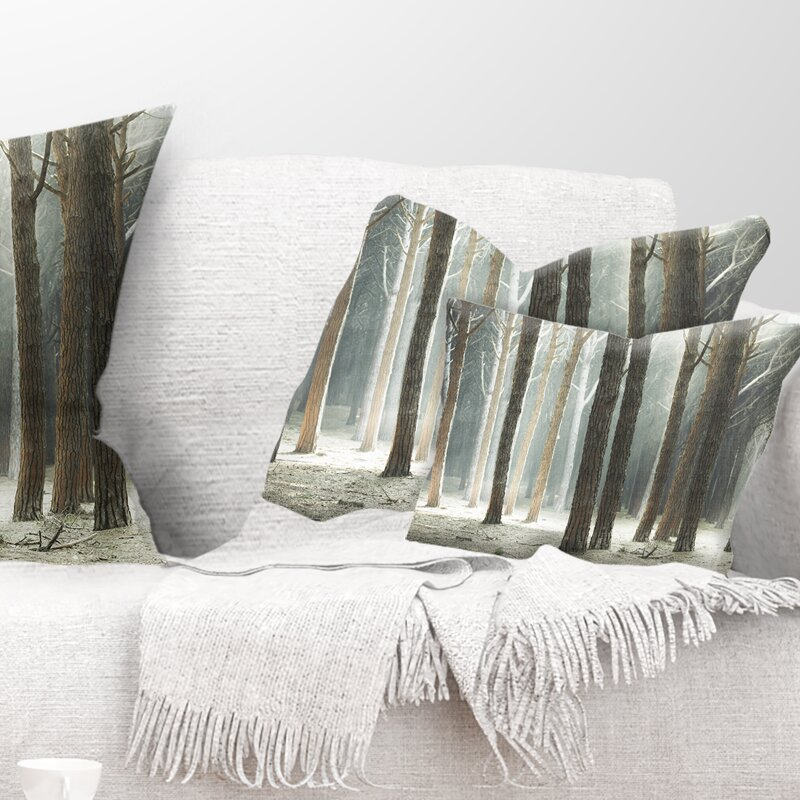 East Urban Home Maritime Pine Tree Forest With Rays Lumbar Pillow Wayfair