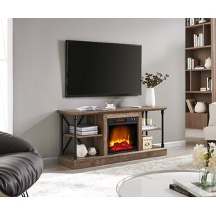 Zayyan TV Stand for TVs up to 65 with Electric Fireplace Included