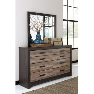 Brockett 6 Drawer Double Dresser with Mirror