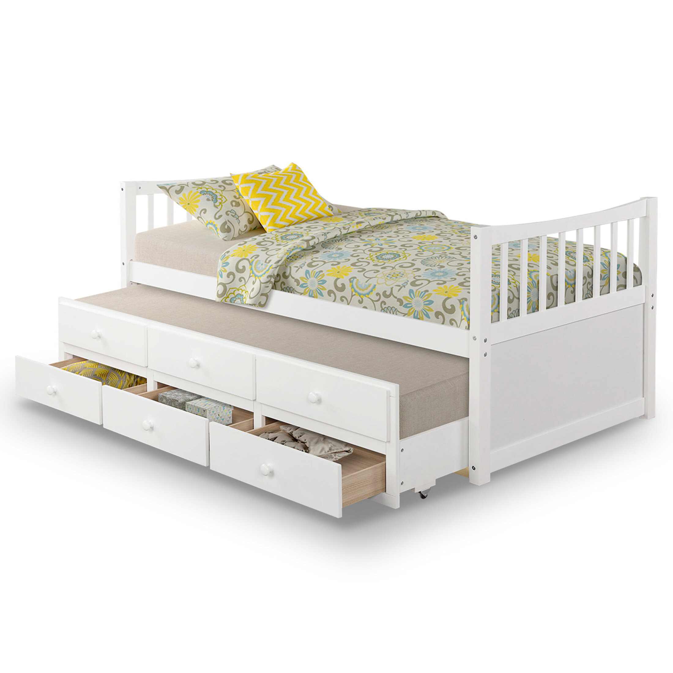 Harriet Bee Solid Wood Twin Size Daybed Kids Captain S Bed With Trundle And 3 Storage Drawers No Box Spring Required Grey Wayfair Ca
