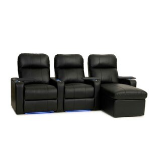 Power Recline Leather Home Theater Sofa (Row of 3) (Set of 3) Red Barrel Studio