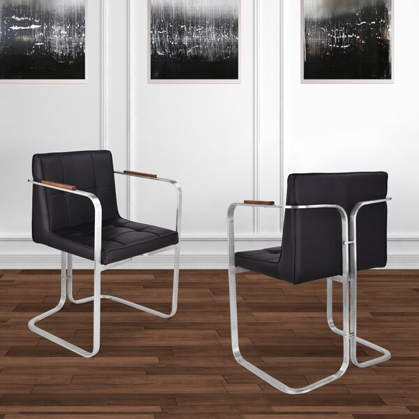 Orren Ellis Vanwinkle Upholstered Arm Dining Chair In Black Wayfair