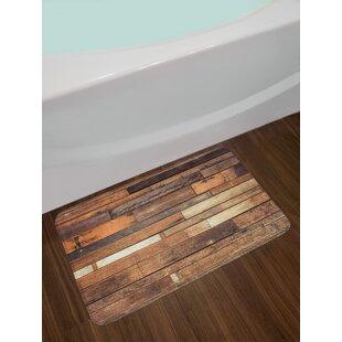Wooden Floor Planks Print Grungy Look Farm House Walnut Oak Grain Image Non-Slip Plush Bath Rug