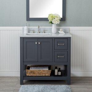 Annabelle 40 Inch Modern Bathroom Vanity Espresso Finish gray bathroom vanities you'll love | wayfair