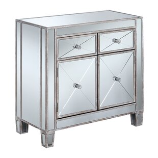 Sagaponack Mirrored 2 Drawer Accent Cabinet by House of Hampton